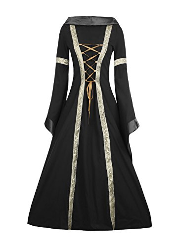 Fashare Womens Medieval Renaissance Costumes Lace Up Floor Length Irish Over Dress Gowns (Hooded Renaissance Dress)
