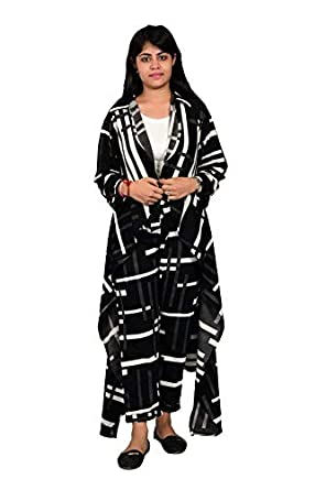 d1c9530220f Kushaas Designer Three Piece Dress Black and White with Long Shrug Daily  wear Stylish Casual and Western Wear Women Girls Top….Black   White   Amazon.in  ...
