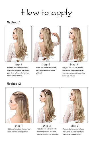 """Short Blonde Hair Extensions Halo Wire Sercet Crown Synthetic Wavy Curly Hairpieces For Women Invisible Heat Resistant Fiber 14"""" 3.7oz SARLA M04&22/613"""