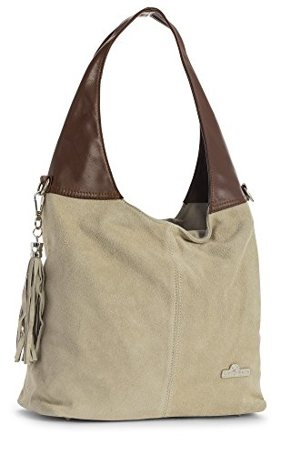 Genuine Girls Shopper LiaTalia Brown Handbag Beige Tote Womens Trim Agnes Shoulder and Leather Soft Hobo Italian Suede 5AAEqgzw