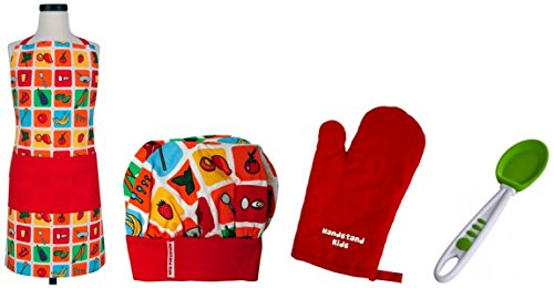 Handstand Kids / Child's 'Eat Your Fruits and Veggies' 4-Piece Apron Set