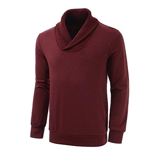 EGRETFLY+Fashion+Men%27s+Fleece+Sweatshirt+Pullover+Sweater+Crimson+L