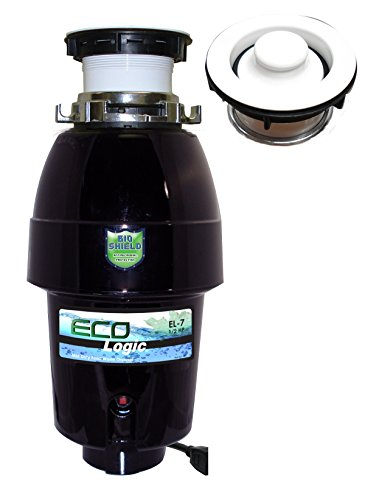 Flange Disposer White - Eco Logic EL-7-DS-WH 7 Designer Series Food Waste Disposer with White Sink Flange, 1/2 HP