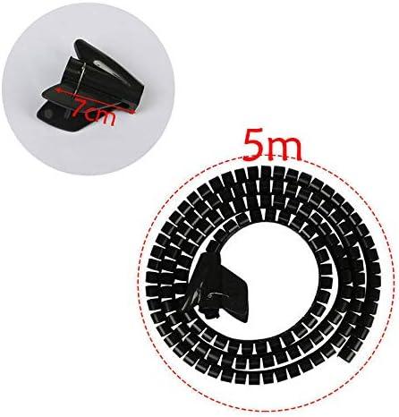 SENRISE Avvolgicavo tagliabile a spirale bianco 2M- nero organizzatore di cavi per TV//PC//computer//Home Enthertainment