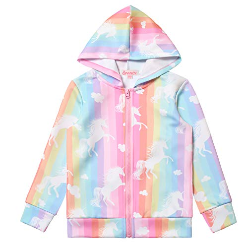Rainbow Unicorn Hoodie for Girls Zip Up Winter Jackets Clothes
