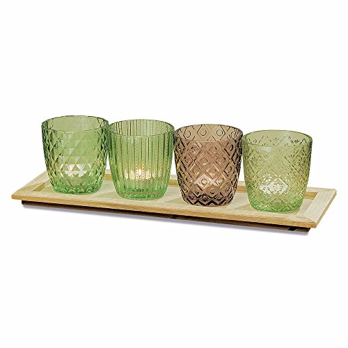 (Naturally Rustic Centerpiece, 4 Glass Wind Lights, Candle Set, Rectangular Wooden Tray, Shades of Green and Brown, Jelly Jar Patterns, Over 1 Ft (15 3/4 L x 5 1/2 W x 6 H inches))