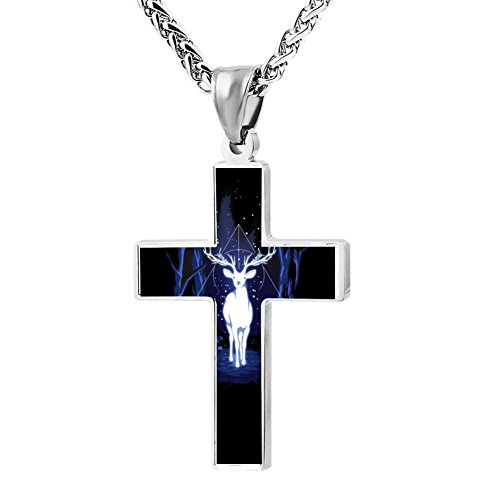 Elelab Cool Deer Guardian Angel Cross Necklace Zinc alloy Pendant Creative Personalized Accessories Prayer Christian 24 Inch