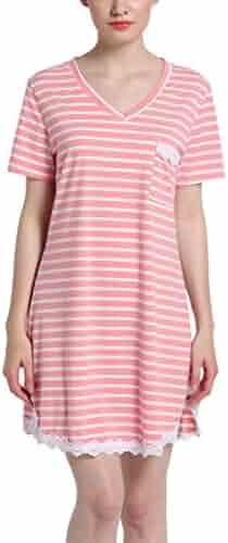 82925eadbc GUANYY Women s Nightgown Cotton Sleepshirt Sexy Lace Chemise Sleepwear