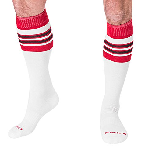 Barcode Berlin Men's Knee High Football Socks (S/M, White/Red/Black)