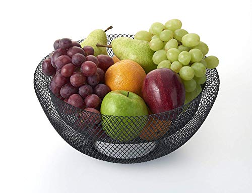 Fruit Bowl Basket Wire Round Metal Large Vegetable Bread Storage Holder Stand for Kitchen Bar Pantry Black