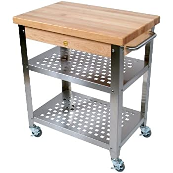 John Boos Stainless Steel Kitchen Cart With 30 By 20 Inch Maple Top And  Drawer,