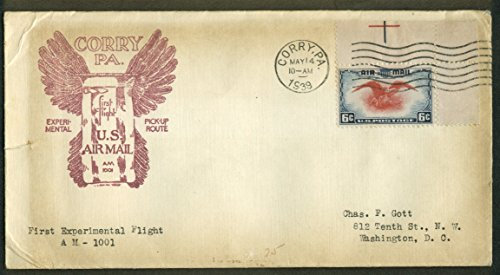 Corry PA Experimental 1st Flight Air Mail Pickup postal cover 1939