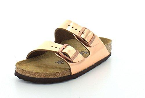 Birkenstock Unisex Arizona Metallic Copper Sandals - 41N EU - Copper Leather Metallic