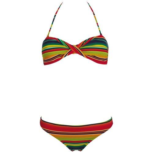 Chiemsee Bandeau Bikini Badeanzug Tankini Ebony - Bikini bandeau para mujer Stripe Mint