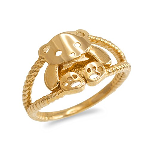 10k Yellow Gold Cute Teddy Bear Ladies Ring (Size (Teddy Bear Yellow Ring)