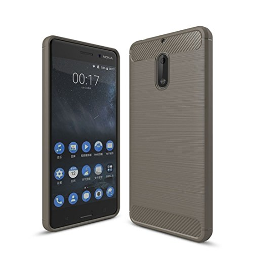 [Nokia 6 Case,Mustaner Shock-Absorption Carbon Fiber Flexible TPU Rubber Soft Silicone Full-body Protective Cover for Nokia 6 (Gray)] (Carbon Fiber Protective Cover)