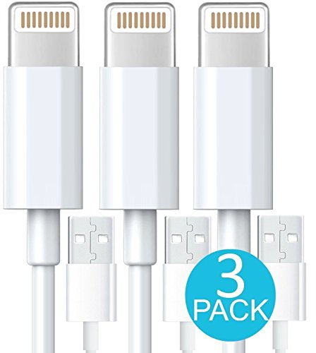 Charger, Lightning iPhone Cable, Certified Tricon 10 FEET / 3 METER [Heavy Duty] Lightning to USB High Speed Sync & Charge Cord Charger for Apple iPhone iPad Air iPod, iOS10 (3 Pack) White