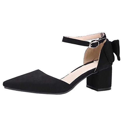Bloc Talons Black Moyens TAOFFEN Femmes Mode Sandales q6wzB