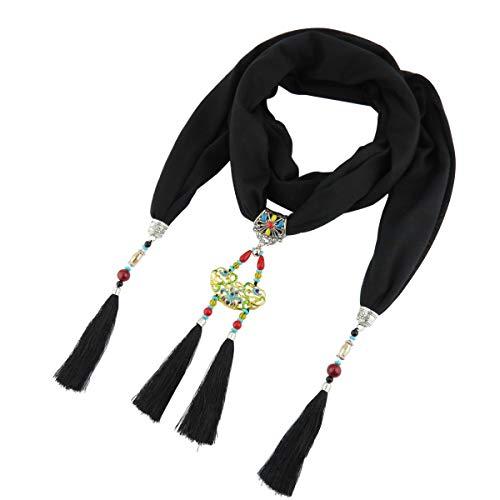 GOGNGTR Bohemia Women's Scarf Pendant Long Tassel Alloy Necklace Accessory Vintage Scarves(sc009) (Black) ()