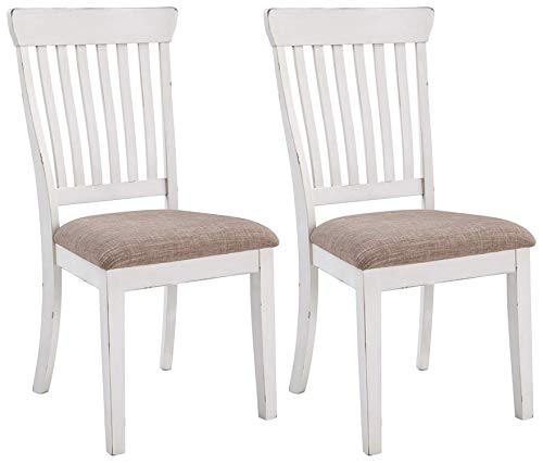 Signature Design By Ashley - Danbeck Dining Upholstered Side Chair - Set of 2 - Casual Style - Chipped White (Oak Side Chairs Dining)
