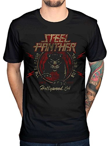 AWDIP Men's Official Steel Panther Death To All But Metal T-Shirt Hollywood Danger Kitty ()