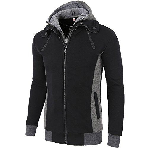 Manwan Walk Men's Cotton Double Full Zipper Fleece Hoodie W97 (Medium, Black)
