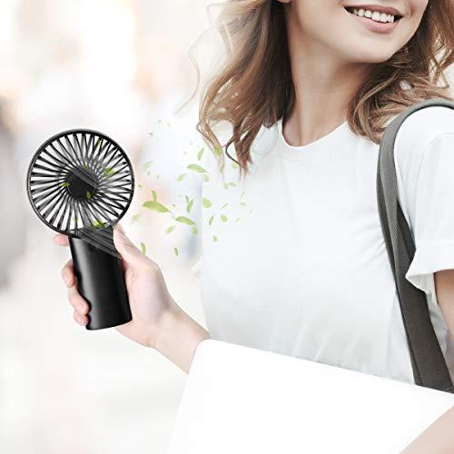 isYoung Mini Ventilatore Portatile - Batterie Ricaricabili USB 4000mAh Ventilatore Portatile 8-18 Ore di Lavoro Mini Ventilatore per Ufficio e Viaggio - Nero