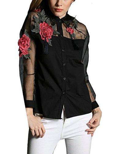 Jooniyaa Womens Elegant Floral Print Long Sleeve Casual Slim Blouse Top