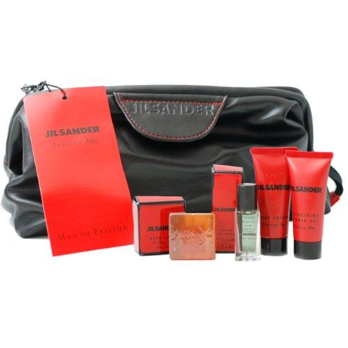 Jil Sander Feeling Man By Jil Sander For Men. Gift Set ( Eau De Toilette  Miniature 7 Ml + Body Lotion 0.7 Oz + Shower Gel 0.7 Oz + Soap + Bag)