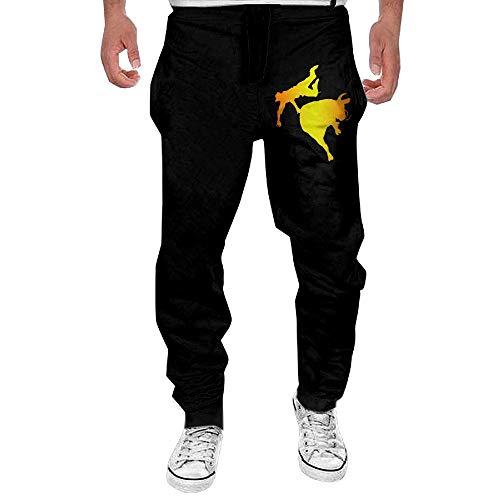 (Men's Bull Rider Sport Cotton Jogger Pants,Running Beam Trousers)