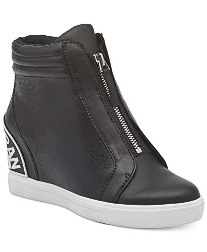 DKNY Womens Connie-Slip On Leather Hight Top Zipper Fashion, Black, Size 8.0