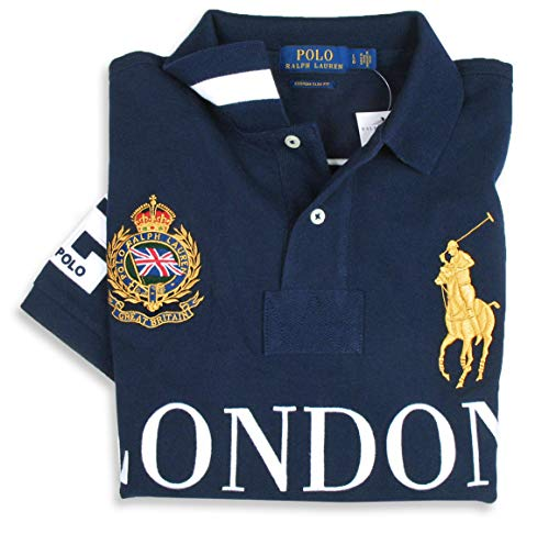 Slim Ralph Manches Custom Homme Lauren Polo Marine Fit Courtes À xrawa01qI