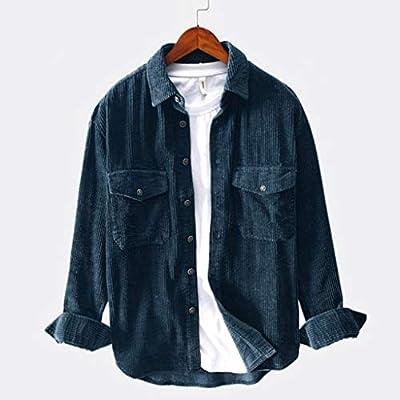 Mens Slim Fit Button Down Shirts Corduroy Jacket Coat Long Sleeve Shirt Blouse Big and Tall Winter T Shirt Tops: Clothing