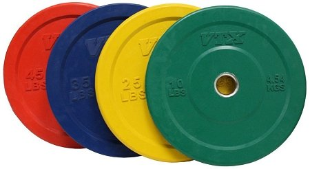 Troy VTX 230lb Colored Olympic Rubber Bumper Plates Weight Set 230 Pound by VTX