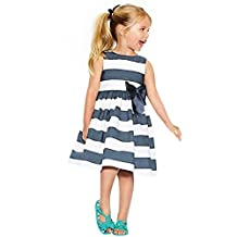 Chinatera Toddlers Kids Girls Summer Striped Skirt Dress Sundress with Bowknot
