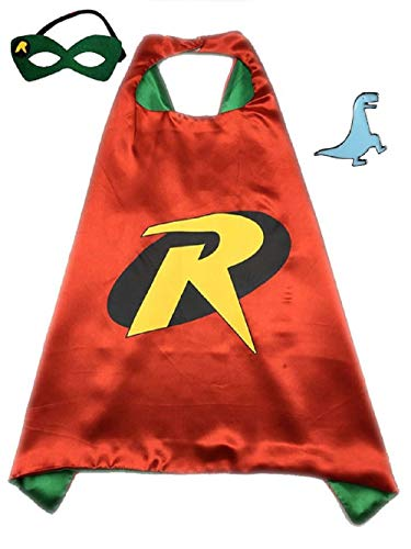 Superhero Cape and Mask Costume for Kids with Pin (Robin)