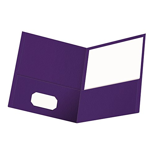 Oxford Twin-Pocket Folders, Textured Paper, Letter Size, Purple, Holds 100 Sheets, Box of 25 (57514EE) ()