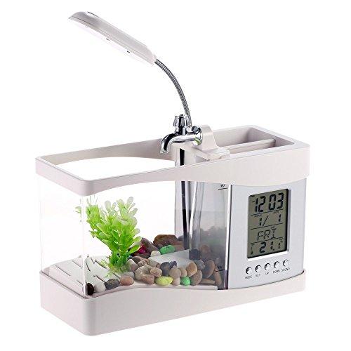 Docooler USB Desktop Mini Fish Tank Aquarium with LED Clock (White) by Docooler