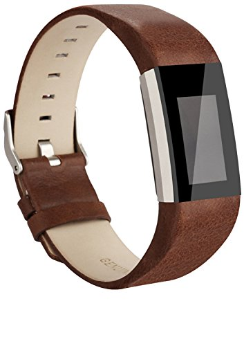 Vancle Fitbit Charge 2 Band, Luxury Genuine Leather Replacement Strap for Fit bit Charge 2(No Tracker)