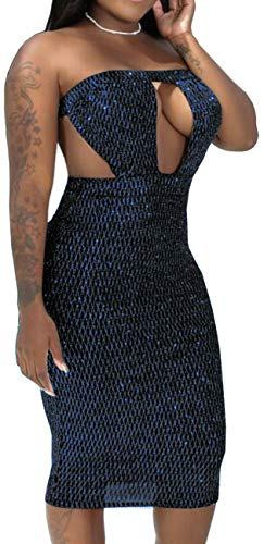 sexycherry Women's Sexy Tube Glitter Dress Bodycon Off Shoulder Bandage Sparkly Pencil Gown Stretch Elegant See Through Cut Out Backless Outfits