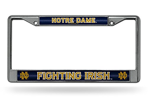 Rico Industries NCAA Notre Dame Fighting Irish Bling Chrome License Plate Frame with Glitter Accent