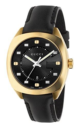 Gucci Men's Swiss Quartz Gold-Tone and Leather Dress Watch, Color:Black (Model: YA142408)