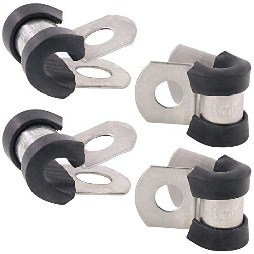 """Keadic 20Pcs 1/4"""" (6mm) Cable Clamp Rubber Wire Clamps Stainless Steel Rubber Cushioned Insulated Clamps"""