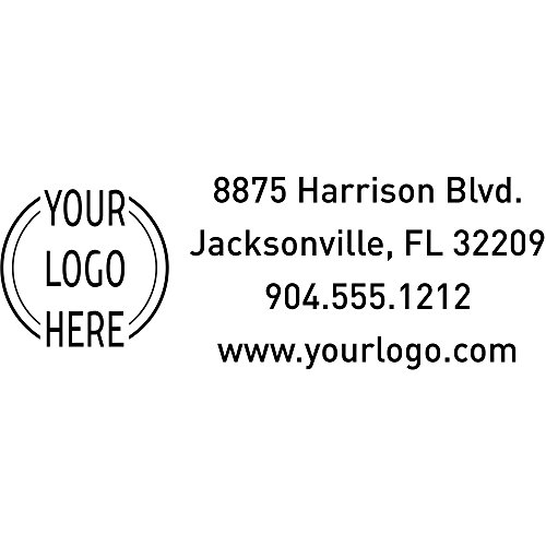 Custom Rectangle Logo Return Address Stamp - Custom Text - Self-Inking Stamper - Rubber Personalized Stamp - Stamps for Local Business - Personalized Business Stamps -