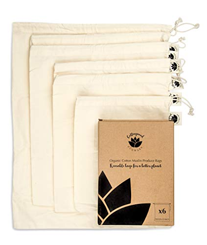Bigger and Better Organic Cotton Reusable Produce Bags - Washable & Biodegradable by Collingwood Ecoware - Set of 6 - Fruit and Vegetable Bags for Grocery Shopping and Storage Organisation