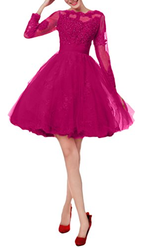 Avril Appliques Dress Women's aFuchsia Beading Ball Bateau Short Gown Homecoming Dresses rHrfXqdwx