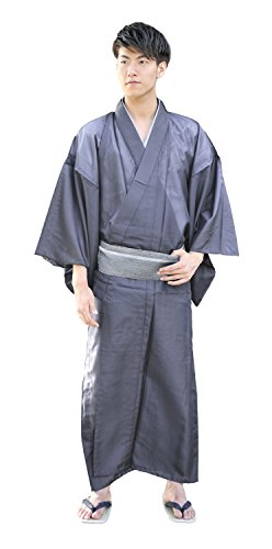 KYOETSU Men's Japanese Kimono Komaro Summer Washable (Large, Deep grey) by KYOETSU