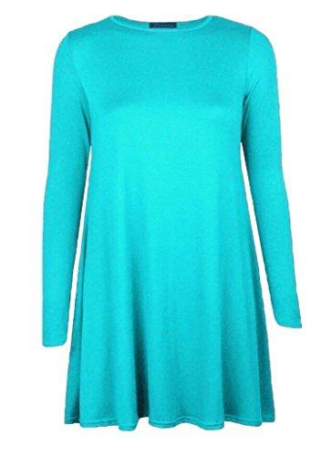 Tartan Print Kids Children Long Sleeve Swing Skater Dress Plain Print Dress 2-14 Years Polka Dot