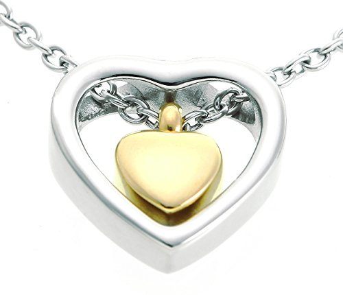 Double Heart Golden Cremation Urn Jewelry Necklace Pendant Funnel Fill Kit, Keepsake Memorial (Double Heart Keepsake)