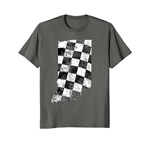 Checkered Shirts Flag (Mens Indiana State T-Shirt With Checkered Flag XL Asphalt)